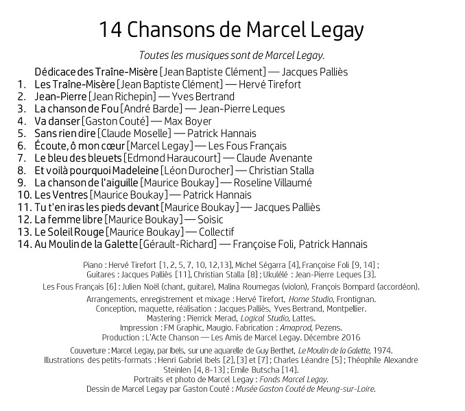 "CD ""14 Chansons de Marcel Legay"" Verso"