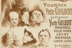 "Tournée d'Yvette Guilbert ""Montmartre en ballade"", Affiche de Léandre, 1901."