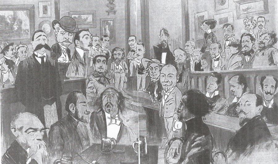 """Pléiade de chansonniers regroupés par la revue """"Je sais tout""""."""