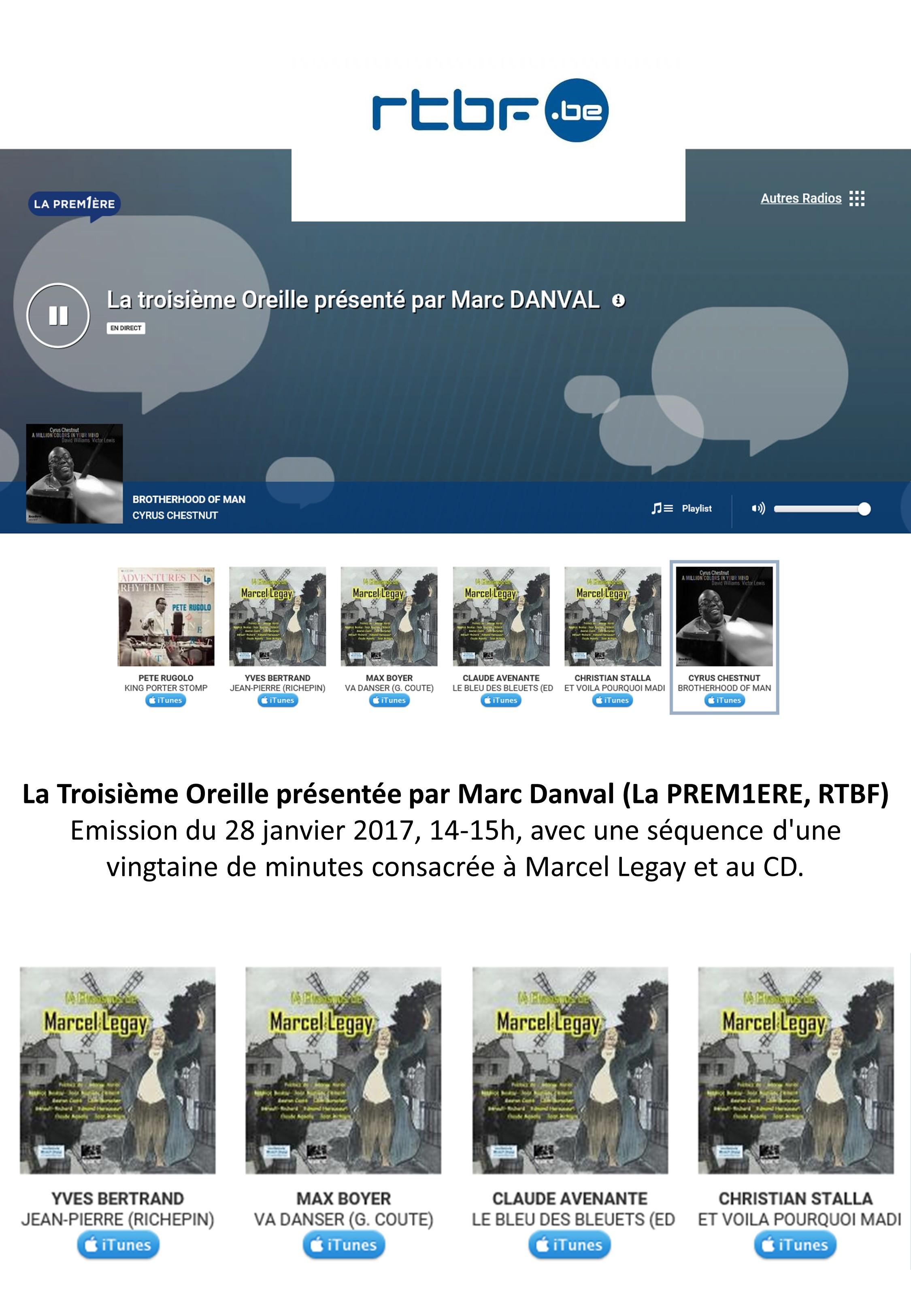 2017-01-28_Annonce Web_Emission Radio_RTBF_La Troisième Oreille_Marc Danvall