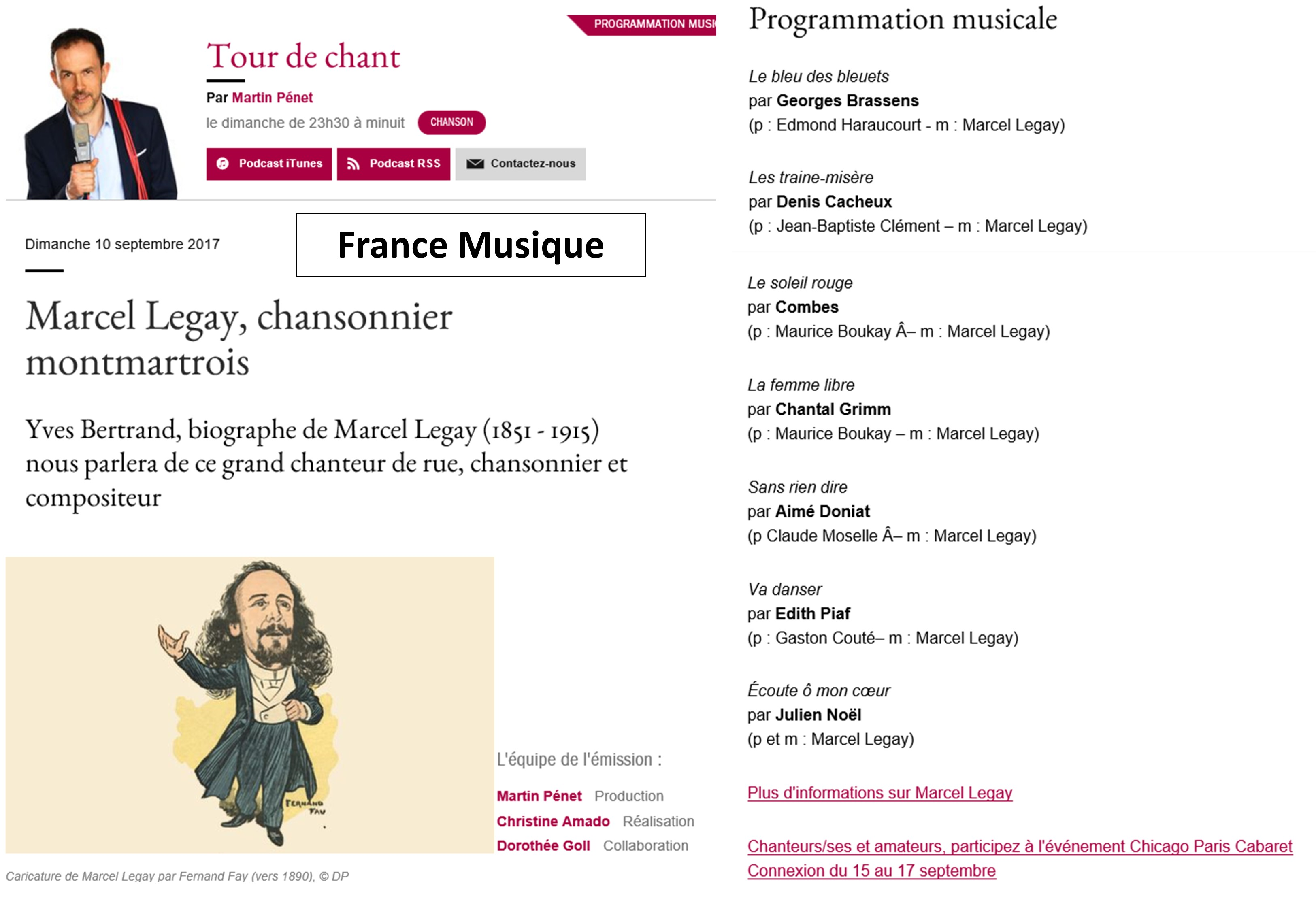 2017-09-10_Annonce Web_Emission Radio_France Musique_Tour de Chant_Marcel Legay_Martin Pénet_Paris