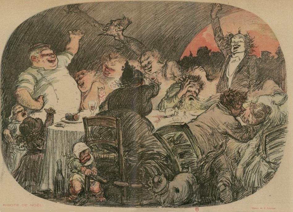 """Marcel Legay par Charles Léandre, n.d., """"Ribote de Noël""""."""