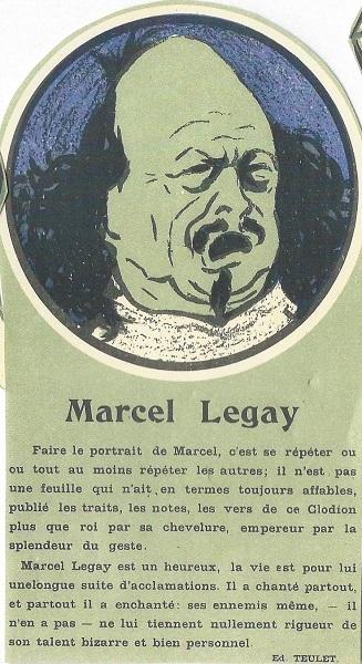 Marcel Legay, programme du cabaret