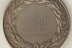 Médaille de la SPA [recto] décernée à Marcel Legay, 1908.