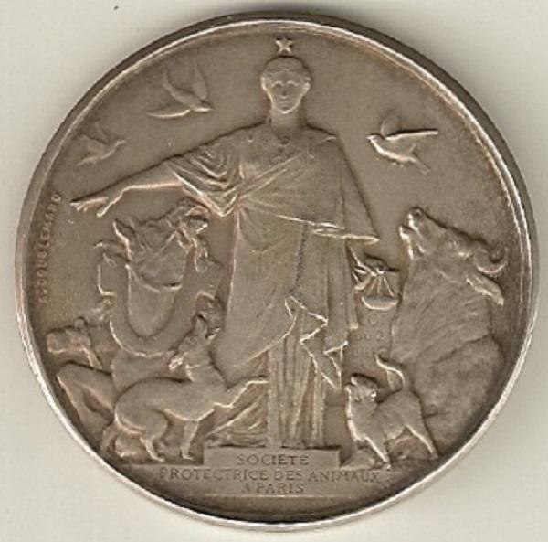 Médaille de la SPA [verso] décernée à Marcel Legay, n.d., 1908.